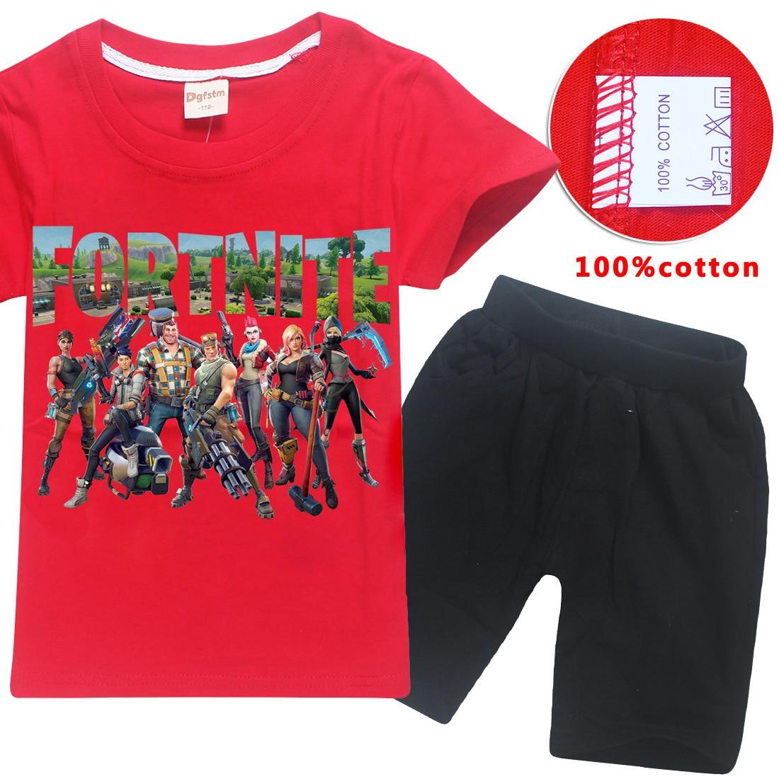 Game Fortnite Print Kids Clothing Set 3D Print Short Sleeve T-Shirt Shorts 2pcs Set Cotton 6-14Y Baby Boys Girls Sports Clothes
