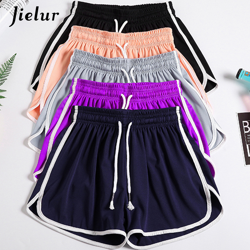 Jielur Elastic Waist Shorts Women 5Colors Casual Plus Size S-5XL Simple Shorts Female Summer Solid Comfortable Short Feminino
