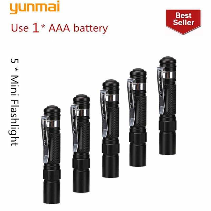 Neue 5 stücke Mini Penlight LED Taschenlampe XML Q5 2000LM Tasche Licht Wasserdichte Laterne AAA Batterie Led Für camping wandern