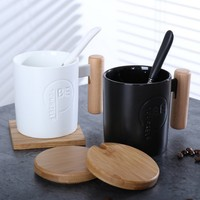 350 미리리터 블랙 커피 컵 간단한 도자기 차 컵 특별 나무 핸들 머그컵 뚜껑 숟가락 홈 아침 식사 우유 머그컵 선물