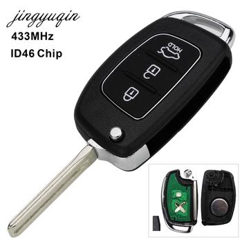 Pilot zdalnego sterowania 3 przyciski 433Mhz układ ID46 dla Hyundai nowy IX35 IX25 IX45 Elantra Santa Fe Sonata TOY40 HY20 HY14 sterowanie Fob tanie i dobre opinie jingyuqin CN (pochodzenie) Chip ID 46 Key Remote Control ABS + Metal + Circuit board China For Hyundai