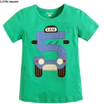 Ropa de verano para niños de la marca Little maven, camiseta educativa de coche ecológico, Camiseta de algodón con estampado número 5 L090