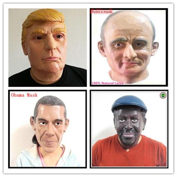 Halloween kostým Realistické Latex maska celebrity Donald Trump / Obama / Black Man / Putin obličejová maska pro Party Cosplay hračky lidské masky  t