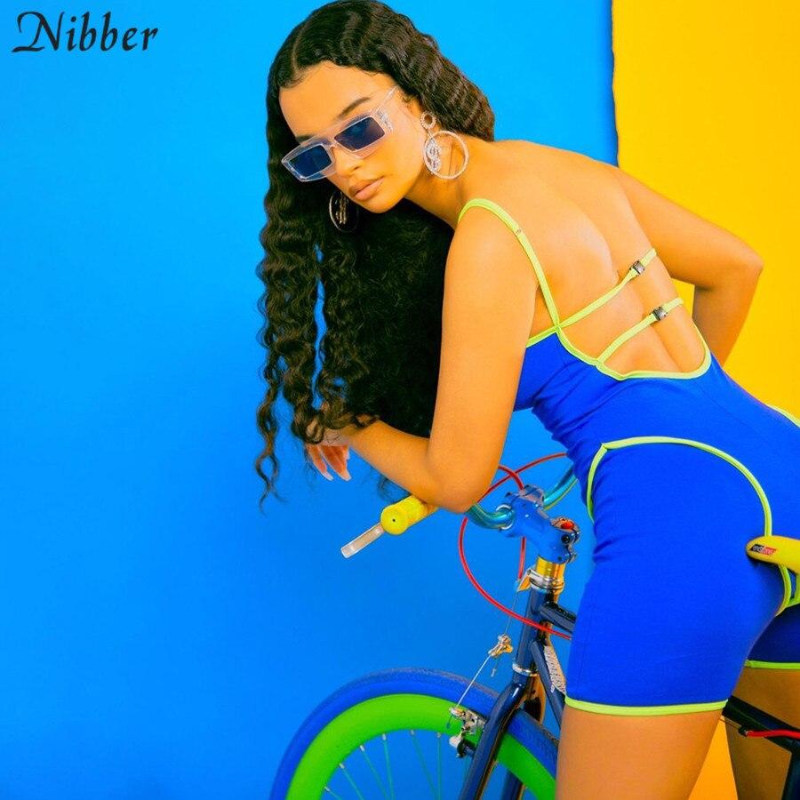Nibber2019-vestido ajustado calado informal para mujer, mono sin mangas, monos de gimnasia sexy, ropa activa