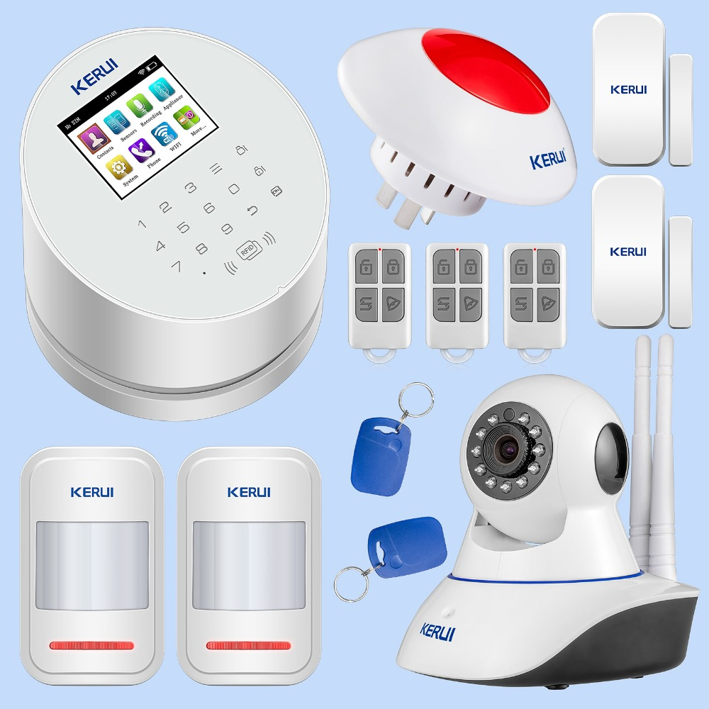 KERUI W2 WIFI GSM PSTN Alarm System Smart Home Security Burglar Alarm RFID Disarm System with Wifi IP Camera Flash Siren