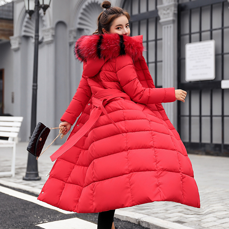 2019 New   Parka   Womens Winter Coats Womans Long Cotton Casual Fur Hooded Jackets Warm   Parkas   RED BLACK WHITE Female Overcoat Coat