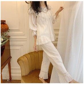 Image 3 - Lolita princesa v pescoço conjuntos de pijama. plissado rendas tops + calças compridas. conjunto de pijamas da menina das senhoras do vintage. roupa de dormir loungewear