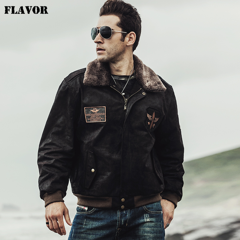 FLAVOR 2017 Winter men's Pilot Genuine Leather Jacket Bomber Male warm Coat Real Leather Flight Jacket