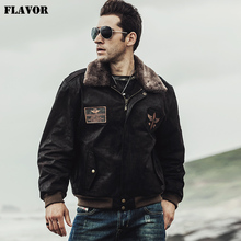FLAVOR 2017 Winter men's Pilot Genuine Leather Jacket Bomber Male warm Coat Real