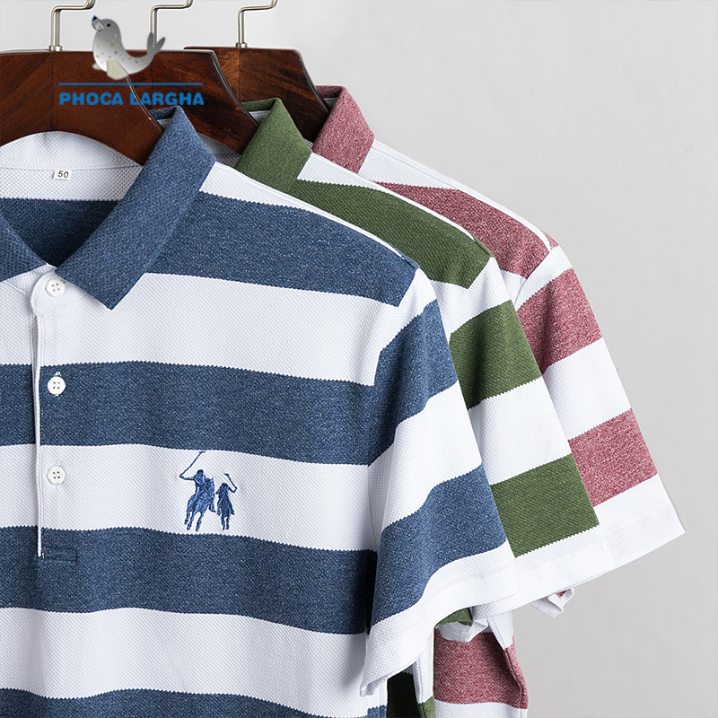 New Striped   Polo   Shirts Men Summer 3D Embroidery Short Sleeve For Man Slim Fit Cotton Casual Camisa   Polos   hombre Masculina