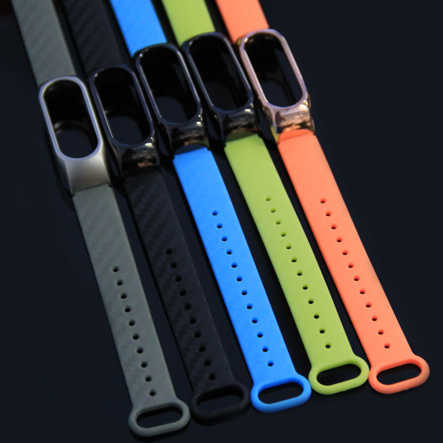 Foonbe 3D Silicon Carbon Fiber Strap For Xiaomi Band Extended Plus bracelet miband 2 Replacement Smart Wristband Bracelet