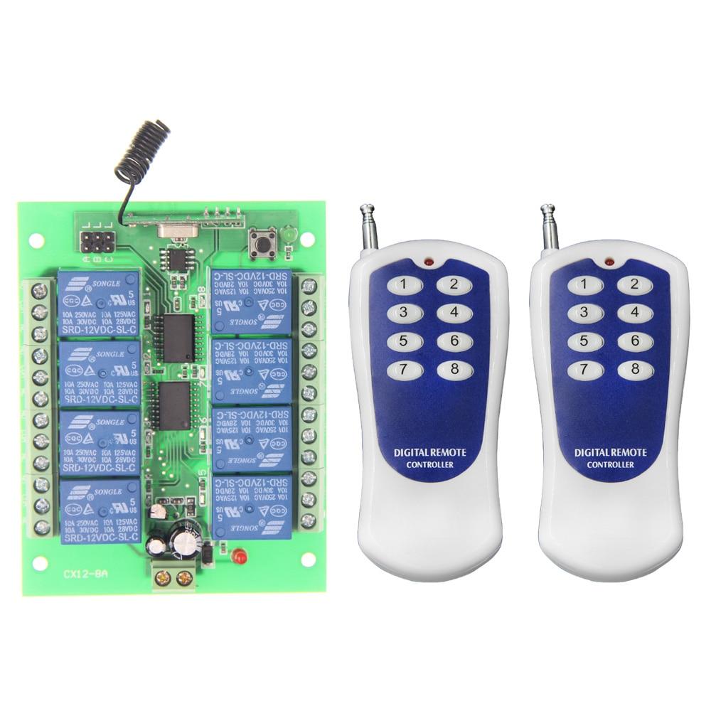DC 12V 24V 8 CH 8CH RF Wireless Remote Control Light Motor Switch System + Transmitter+Receiver,315 433 MHz dc 9v 12v 24v 1 ch 1ch rf wireless remote control led light motor pump switch system receiver 315 433 mhz