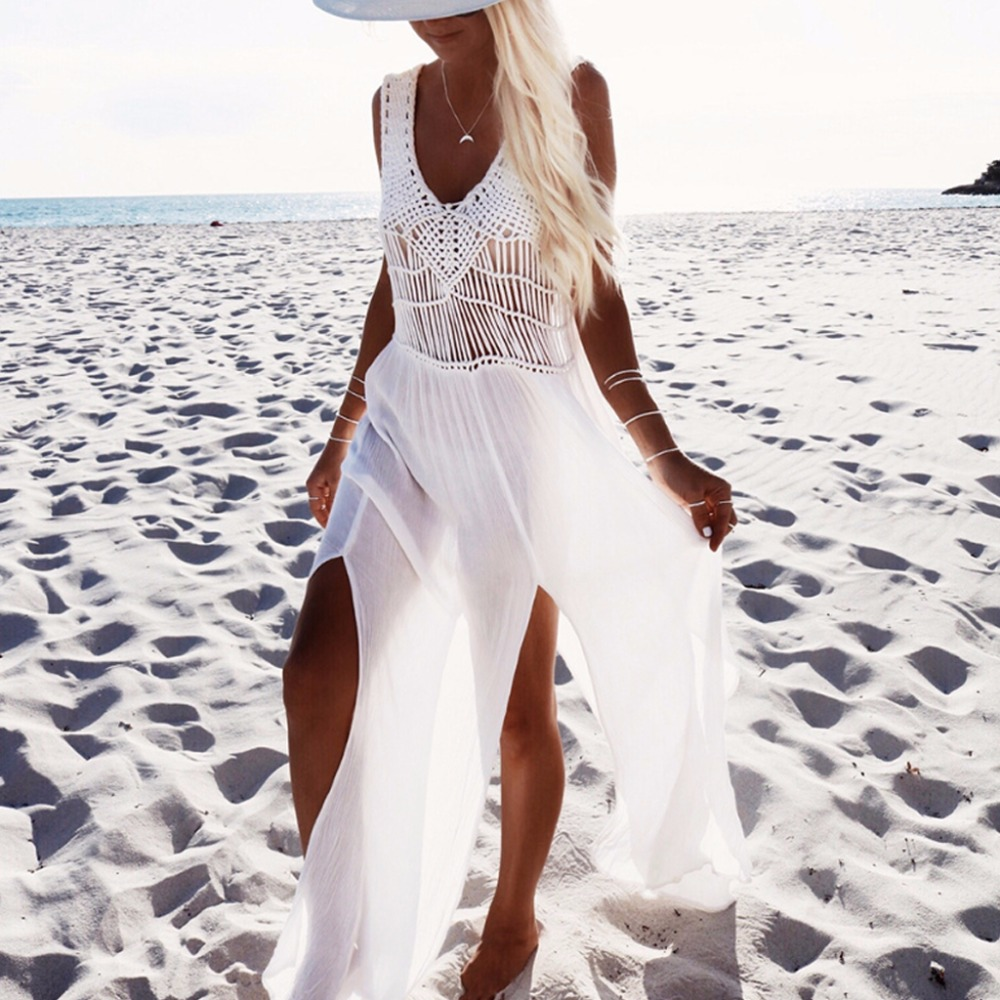 2018 Sexy Weave Chiffon Beach Dress Tassels Saida De Praia Weave Beach Covers Up Fringe Beachwear
