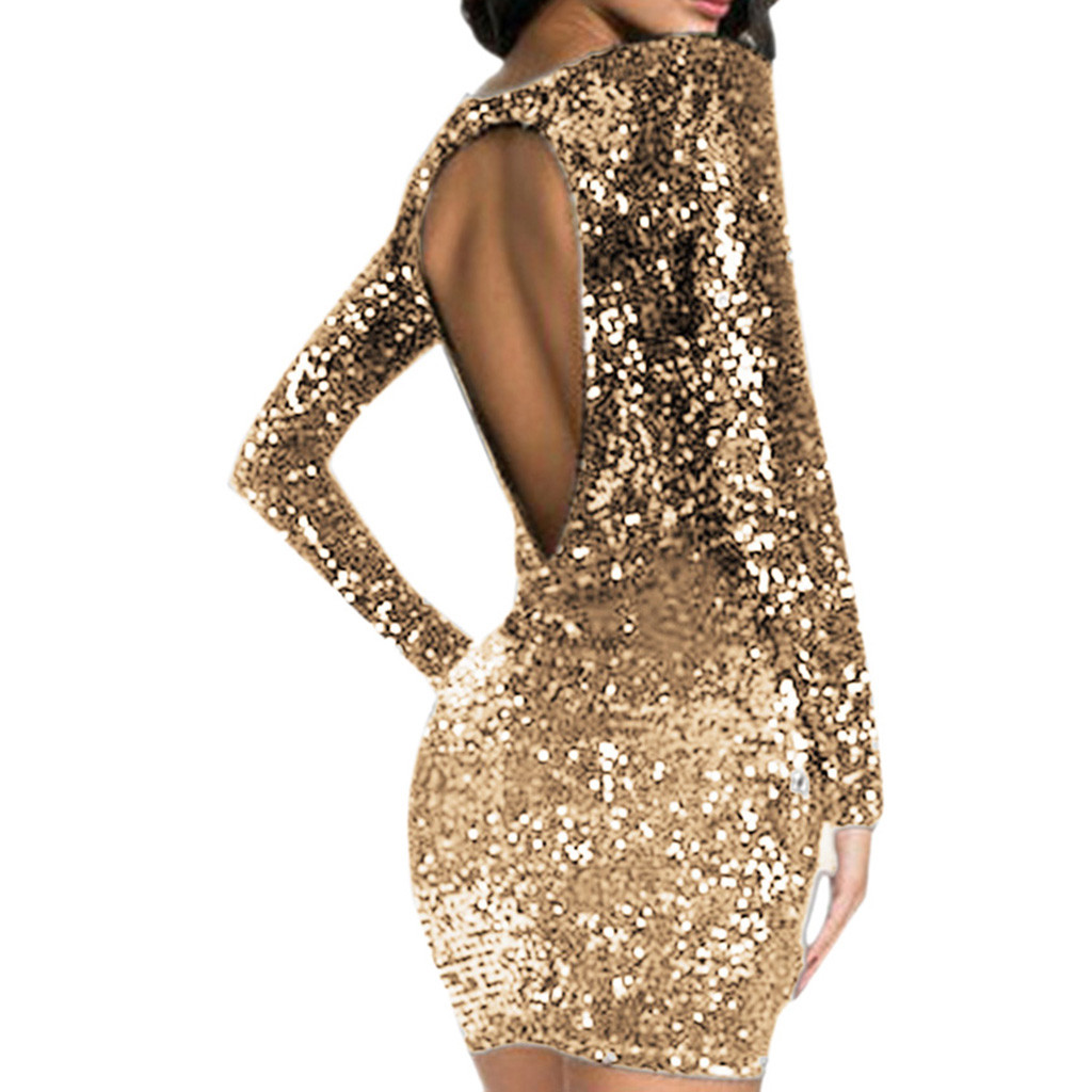Online Shop Sparkle Glitzy Glam Female Long Sleeve Party Club Dress ...