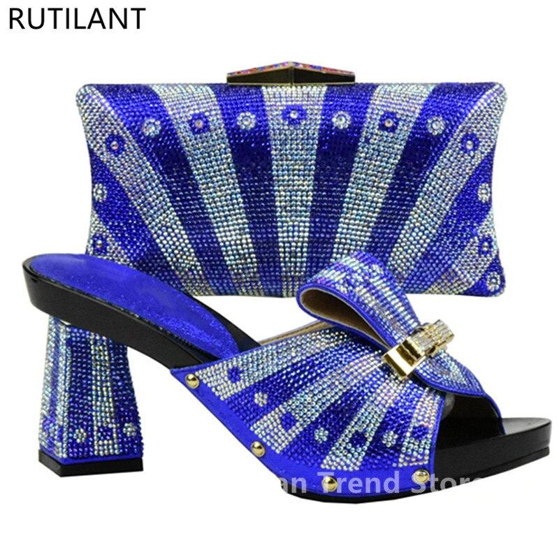 Con Zapatos Negro Nigerianos Partido rojo Y El Conjuntos verde Zapato Decorado Bolsa Color Conjunto oro Africano Para Mujeres Las Rhinestone Azul azul En qCW5aaY