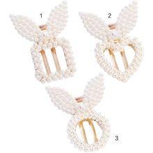 Korean Geometric Hollow Out Duckbill Hair Clip Women Girl Cute Rabbit Ears Imitation Pearl Hairpin Square Heart Styling Barrette