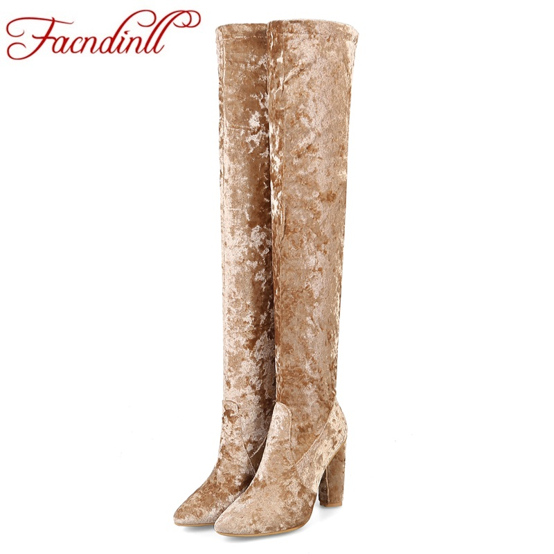 FACNDINLL sexy over the knee high boots women fashion slim stretch velvet boots spring thigh high boots high heel shoes woman women over the knee boots black velvet long boots ladies high heel boots sexy winter shoes chunky heel thigh high boots