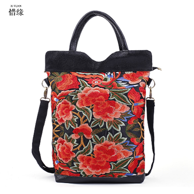 XIYUAN BRAND fashion luxury woman cow Genuine Leather Bucket shoulder crossbody bag lady national Embroidery zipper soft handbag xiyuan brand ladies beautiful and high grade imports pu leather national floral embroidery shoulder crossbody bags for women