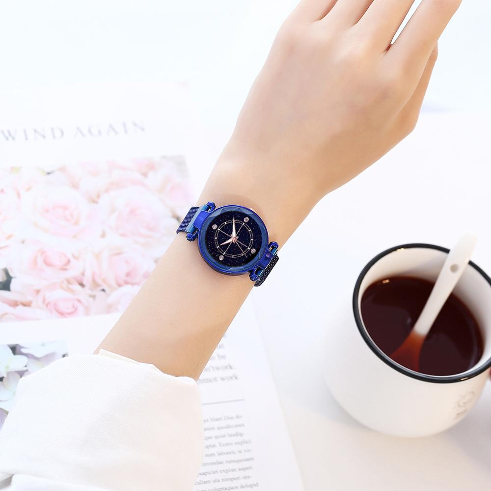 Luxury Women Magnet Watch Fashion Galaxy Starry Sky Female Wristwatch Ladies Stainless Steel Quartz Clock relogio feminino xfcs in Women 39 s Watches from Watches