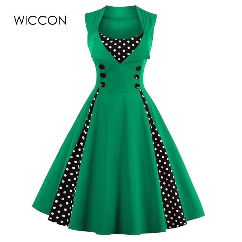 WICCON Vintage Sweet Women Dress Ärmlös Polka Dot 2018Summer Party - Damkläder - Foto 3