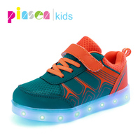 Kids Luminous Sneakers 2018 New Spring Breathable Sports Shoes Boys Girls USB Charger Led Light Shoes