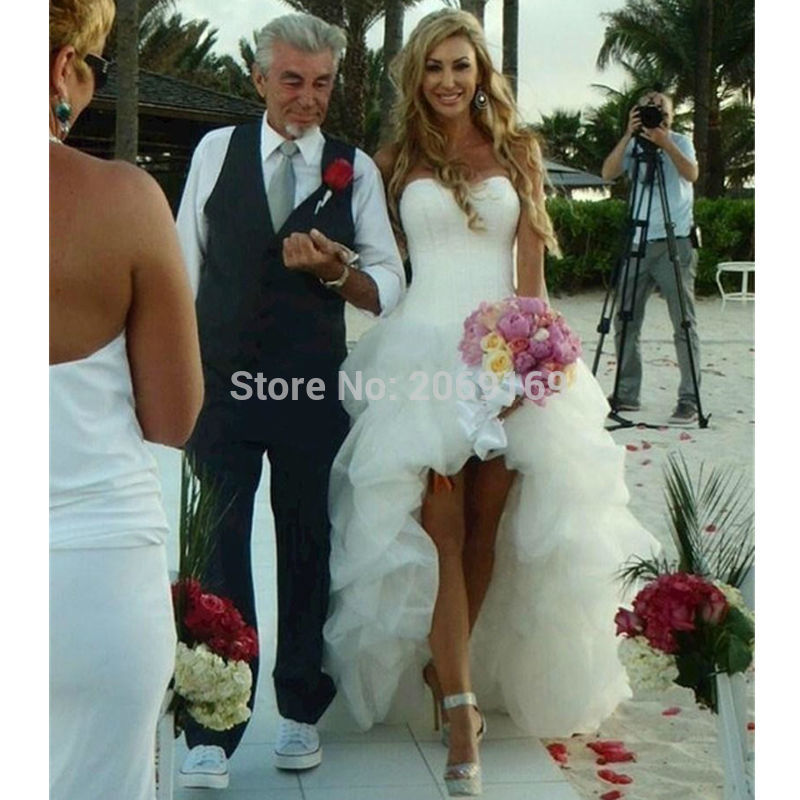 New Arrival 2020 Beach Wedding Dress Sweetheart High-low Lace-up Back Ruffles Short Front Long Back Wedding Dress