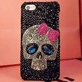 Милые Металла Череп Bling Диаманта Rhinestone Bowknot Телефон Случаях Coque Назад обложка для iPhone 5s SE 6 s 7 Plus для Samsung Случае