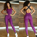 Mono Deportivo de Fitness de alta Calidad de Acrílico Patchwork Body correas cruzadas espalda Playsuit Mujeres Macacão Púrpura Y Gris