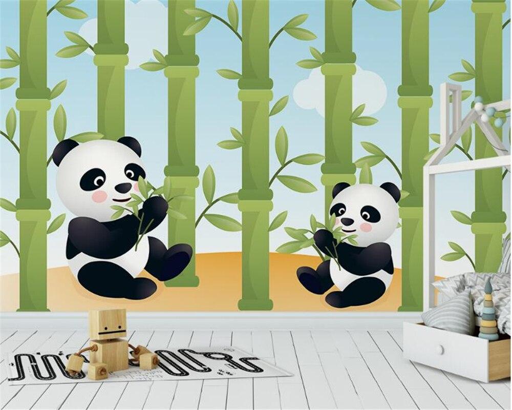 Beibehang Kualitas Tinggi Fashion Wallpaper Lucu Kartun Hewan Panda Makan Bambu Kamar Anak Latar Belakang Papel