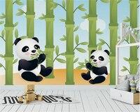 beibehang High quality fashion wallpaper cute cartoon animals panda eat bamboo children room backdrop papel de parede wall paper