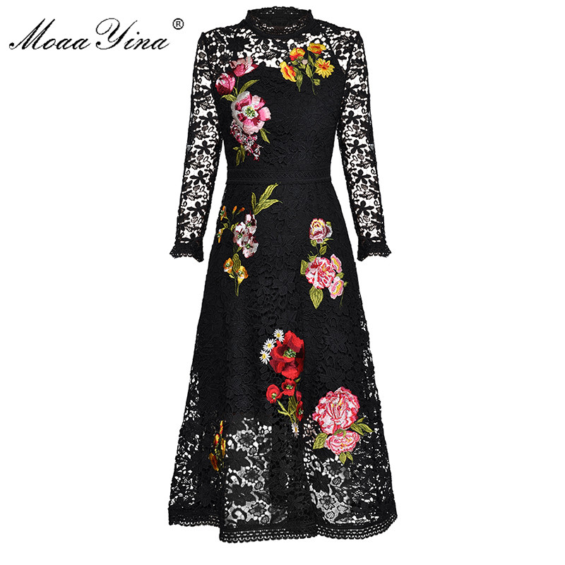 MoaaYina Fashion Designer Runway Dress Spring Autumn Women's Long sleeve Lace Floral Embroidery Elegant Slim Vintage Midi Dress