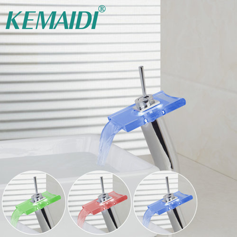KEMAIDI Tall LED Light Waterfall Spout Bathroom Glass Chrome 8019/8 Deck Mounted Sink Basin Torneira Tap Mixer Faucet