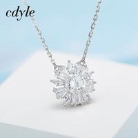 Cdyle Necklace Women Pendant S925 Sterling Silver Fashion Jewelry Elegant Simple Australian Rhinestone Paved Bijoux Chic