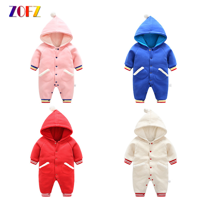 ZOFZ Cute Baby Clothes Long Sleeve Solid jumpsuit for Girls Fashion baby Rompers cotton comfortable clothing for new born bebes 100%cotton 3pcs lot baby rompers winter long sleeve baby boys clothing solid color o neck jumpsuit baby girls pajamas clothes