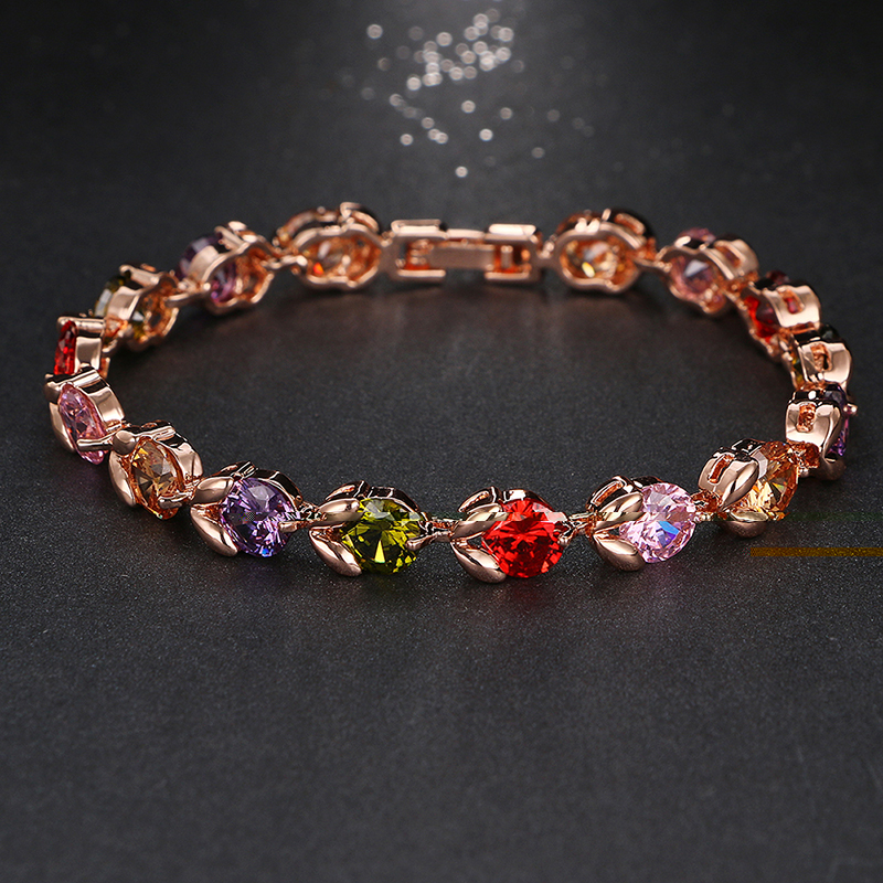 Emmaya Luxury Rose Gold Color Crystal Chain Link Bracelet AAA Zircon CZ Colorful Bracelets for Women Wedding Jewelry