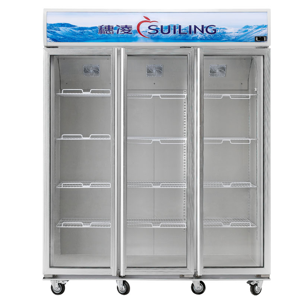 1000l Air Cooling Glass Display Showcase 3 Door Beverages Cooler