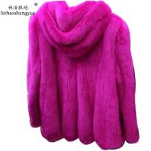 Linhaoshengyue 2016 senior winter mink fur coat with hood