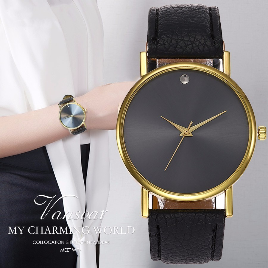 New Vansvar Top Brand Fashion Women Watches Gift Clock Ladies Leather Strap Gold Quartz Sport Watch Reloj Mujer Drop Shipping new design square women watches rebirth popular brand fashion casual ladies watch quartz clock grey wristwatches reloj mujer