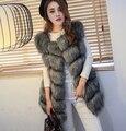 Nueva llegada 2015 caliente del invierno Fsahion mujeres largas de piel falsa chaleco de imitación de piel de zorro abrigo chaleco Colete Feminino Plus size 4XL