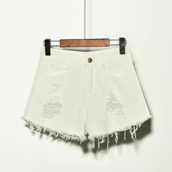 2019 sexy summer denim shorts women high waist Jean shorts female loose hole jeans shorts with pockets casual plus size S-6XL 4