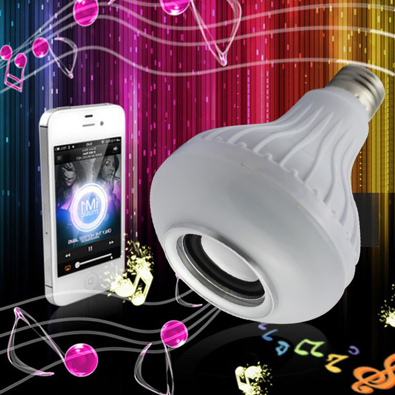 E27 RGB Speaker LED Bulb Light 12W Music Playing Dimmable Wireless Led Lamp-!
