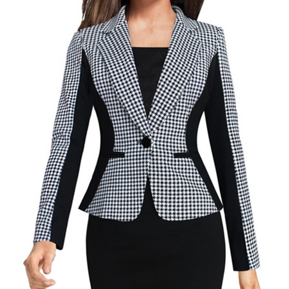 Women Blazers For Office Work Slim Single BreastedFit Small Suit Coat Splice Jacket  Ladies Outerwear Casual Casaco Femme Z0530