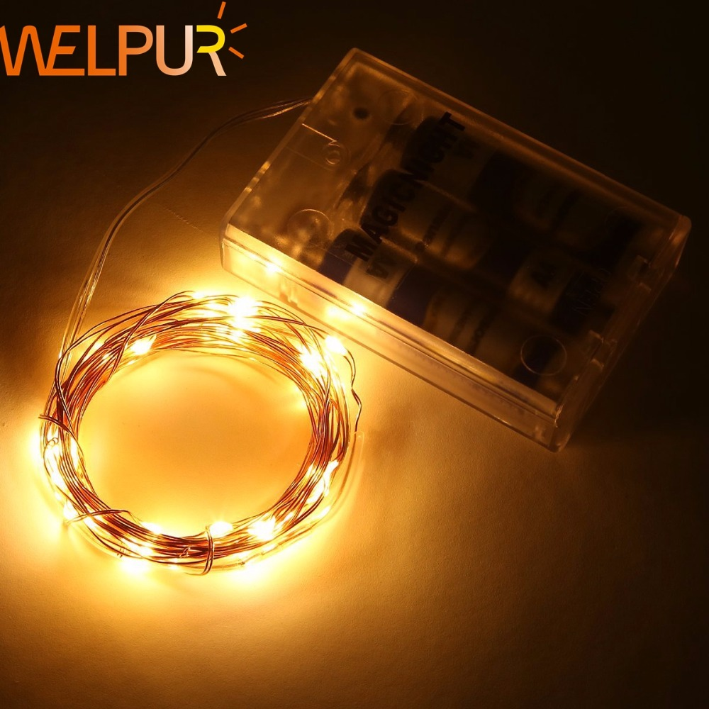 New Year 10M 5M 2M Cooper Wire Fairy Garland LED String Lights Home Christmas Wedding Party Decoration Powered By 3XAA Battery