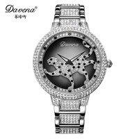 Роскошные Davena леди Для женщин часы элегантный горный хрусталь Мода часы леопардовый повернуть платье Браслет Пантера партии Рождественски