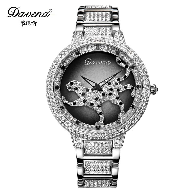 Luxury Davena Lady Women's Watch Elegant Rhinestone Fashion Hours Leopard Rotate Dress Bracelet Panther Party Christmas Gift