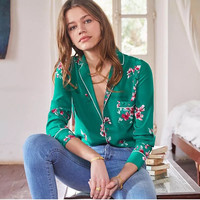 100% Silk Women Green Peach Blossom Print Long Sleeve Pajamas Style Shirt Blouse