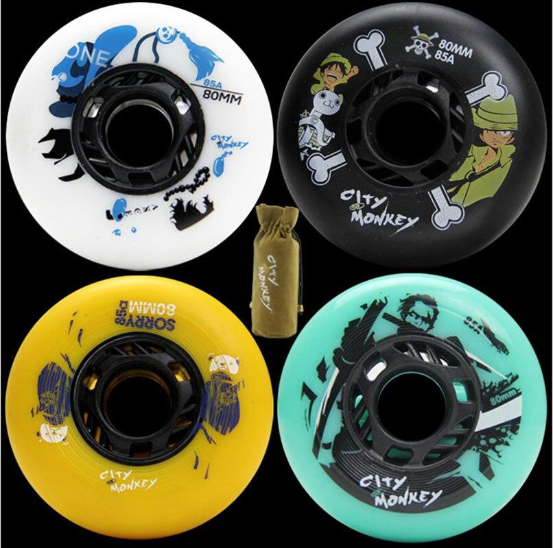 8PCS City Monkey 72 76 80mm FSK Brake Inline Roller Skate Wheels Multiple Style Selection 85A