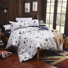 Kids Children Student Star Moon White Blue Bedding Set Twin Full Queen King Bed Linen Set Quilts Duvet Cover Bedsheet Bedclothes