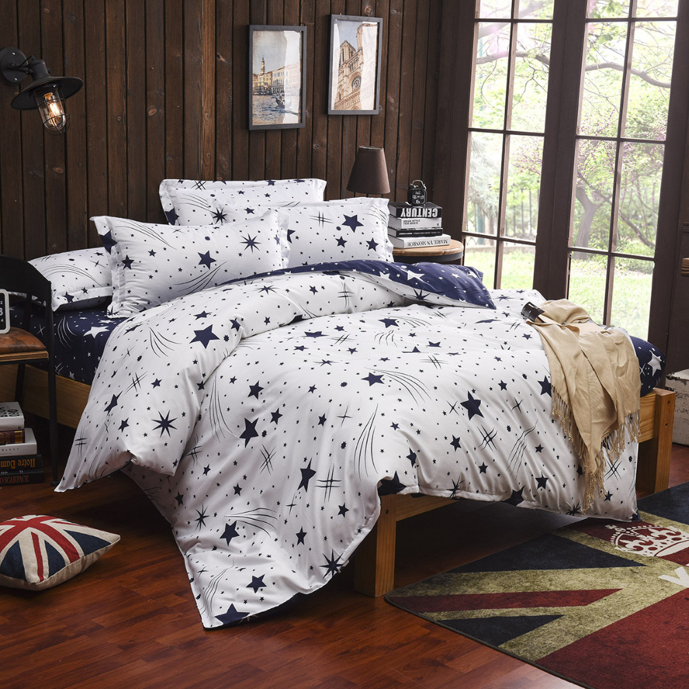 Blue and white bedding - Kids Children Student Star Moon White Blue Bedding Set Twin Full Queen King Bed Linen Set Quilts Duvet Cover Bedsheet Bedclothes