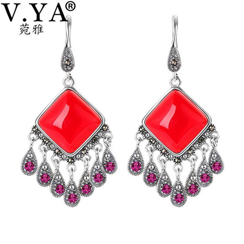 V.YA Vintage 925 Sterling Ethnic Earrings for Ladies Women OL Style Long Drop Earrings Brincos Jewelry High Quality pair of vintage retro style alloy ball drop earrings for women